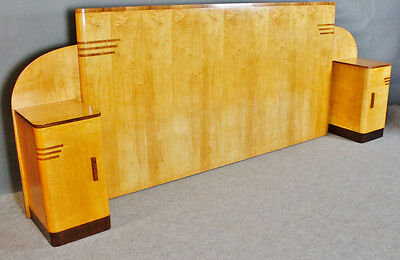 Art Deco Sycamore Super Kingsize headboard with pair bedside cupboards attached