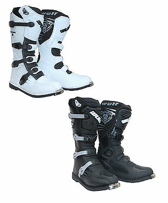 Wulfsport Trackstar Motorcross MX Boot Size 42-46 Black White Quad Dirtbike