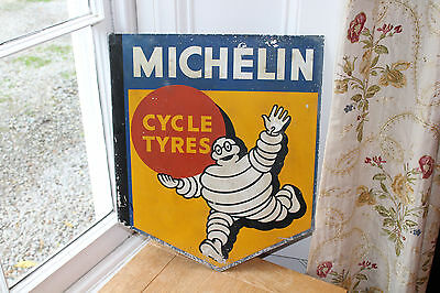 Rare original old vintage double sided alloy MICHELIN MAN Cycle Tyres shop sign