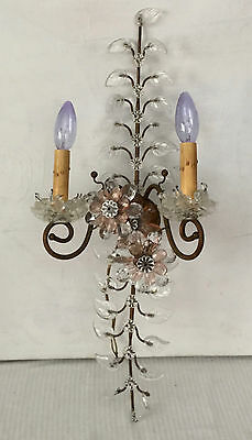 "Vtg flower Pink & Clear crystal prism sconce Brass  spain ""palwa italian style"""