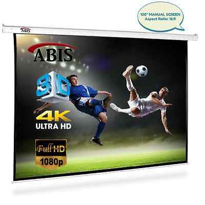 "100"" Manual Pull Down Projector Screen 16:9 Native Screen"