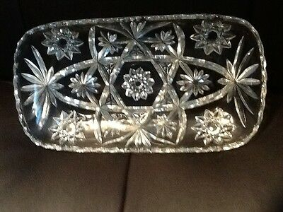 "Anchor Hocking Prescut Rectangular 12"" Glass Star Of David Bread Tray Dish"