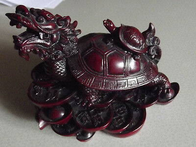 Feng Shui OxBlood (red)  Dragon Turtle Statue Figurine Paperweight - heavy resin