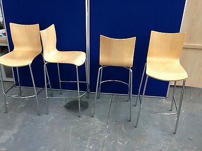 4 x  HIGH STOOLS, STEEL AND BENT WOOD, SEATS, CHAIRS, BREAKFAST BAR ETC