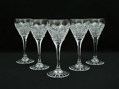 "(5) Bohemian Czech Cut Crystal 5 3/4"" Cordial Glasses - Star Fan Queens Lace"