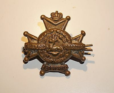 WWI Sherwood Foresters Derbyshire Collar Badge with Loops & Fixer