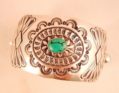 Navajo Old Turquoise Cuff Sterling Silver Stamped Conchos Bracelet Size: 6.25 +-