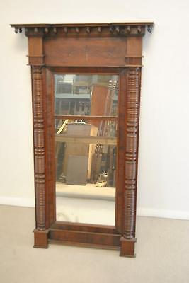 "ANTIQUE AMERICAN FEDERAL STYLE FLAMED MAHOGANY MIRROR, 49"" Tall"