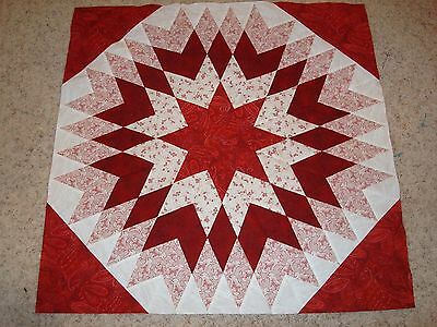 RED HALF STAR QUILT TOP - Not Quilted, Machine pieced, Made in the USA