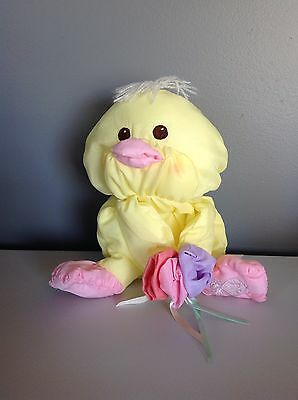 "Fisher Price 1988 Puffalump Easter Chick With Flowers Plush Yellow 8027 8"" Duck"