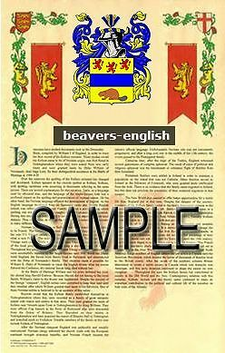 BEAVERS Armorial Name History - Coat of Arms - Family Crest GIFT! 11x17