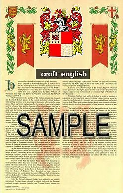 CROFT Armorial Name History - Coat of Arms - Family Crest GIFT! 11x17