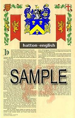 HATTON Armorial Name History - Coat of Arms - Family Crest GIFT! 11x17