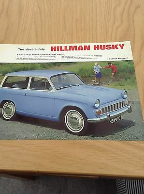 Hillman Husky Double Sided Single Sheet Sales Leaflet Ref 998/H  c  1963