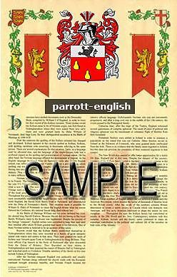 PARROTT Armorial Name History - Coat of Arms - Family Crest GIFT! 11x17