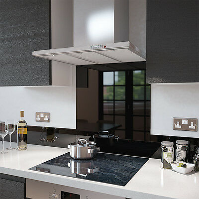 Black Toughened Glass Splashback - Various Sizes - Heat Resistant to 500°C
