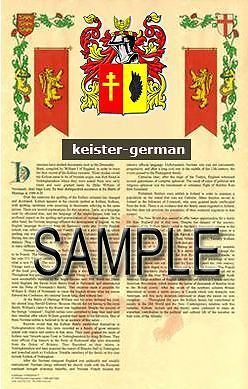 KEISTER Armorial Name History - Coat of Arms - Family Crest GIFT! 11x17