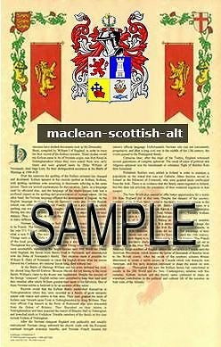 MACLEAN Armorial Name History - Coat of Arms - Family Crest GIFT! 11x17