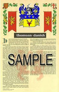 THOMSEN Armorial Name History - Coat of Arms - Family Crest GIFT! 11x17