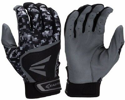 New Easton HS7 Hyperskin Adult Baseball Pair Pack Batting Gloves Black/Camo S-XL