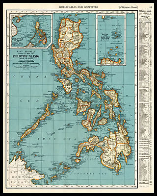 PHILIPPINES Islands China Sea Manilla 1937 antique color lithograph Map