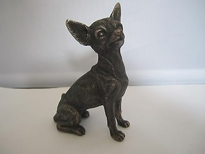 Chihuahua figure cold cast bronze Small sitting model by Veronese Designs