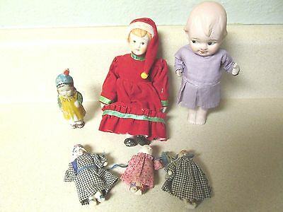 VINTAGE LOT OF 6 Toy Bisque Porcelain Miniature Baby Dolls - SOME QUITE OLD!