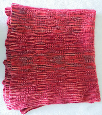 Vintage Red Pink  Wool Blanket Felted Thick Blanket Throw 40 x 46 Ruffled Edge