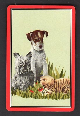 Vintage Swap/Playing Card - Dogs & Cat