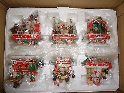 "Danbury Mint Pug Train Set Sculpture ""the Pug Holiday Rail"" New In Box And Rare!"