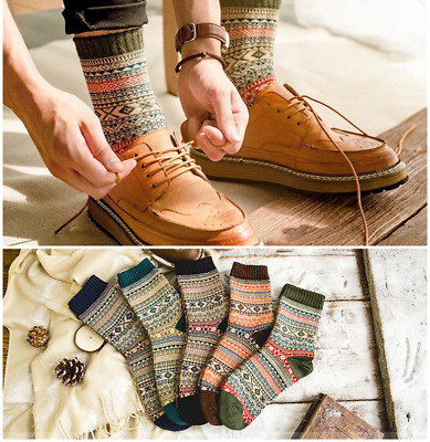 5 Pairs Mens Warm Thick Wool Cotton Cashmere Casual Dress Retro Winter Socks Lot