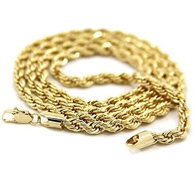 Mens 14K Yellow Gold Plated 20in Rope Chain Necklace 4 MM