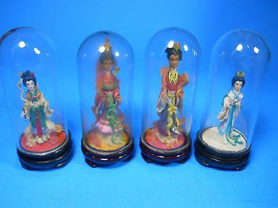 """4 miniature chinese asian Women Figurines Glass Dome Display wood base 3.75"""""""