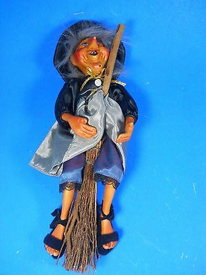 KASMA flying Witch on Broomstick hanging hand crafted Porcelain Doll 13.5""