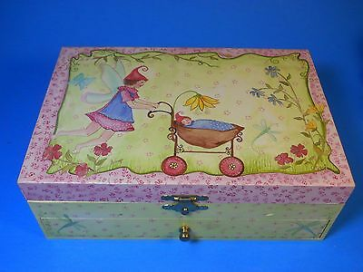 Fairy Fairies design jewelry box w. Mirror Dragonfly Butterfly Angel Flowers 9""