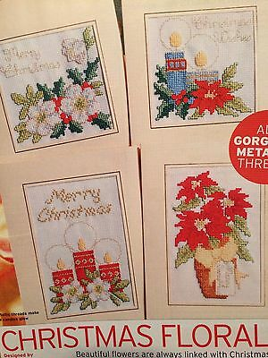 4 X Christmas Floral Cards Cross Stitch Chart