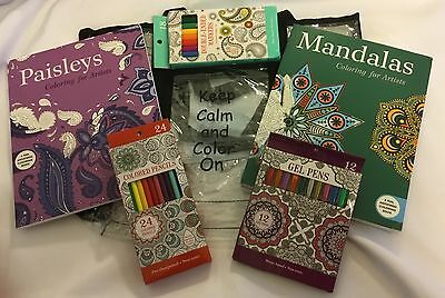Adult Coloring Book Gift Set-- Great For The Beginner To Get Started.