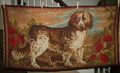 """Early 1900s Wool Chenille Reversible Tapestry Area Rug SAINT BERNARD DOG 30""""X57"""""""