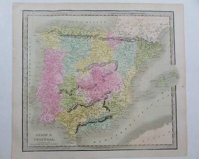 Spain Portugal 1848 by Greenleaf scarce antique map old hand color