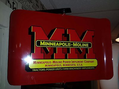 Minneapolis Moline  Tractor Nostalgic Spinning Advertising Sign 2 Sided