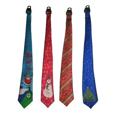 Lot Of 4 Men's Christmas Patterns Ties Assorted Dress Up Neck Ties Holiday NEW