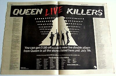 QUEEN 1979 Poster Ad LIVE KILLERS