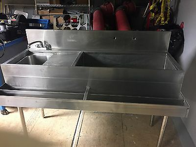 Stainless Steel Bar Sink W/ Ice Bin And Drainboard
