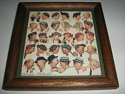 """1948 Norman Rockwell """"the Gossips"""" 6.5"""" X 6.5"""" Framed Limited Edition Art Print"""
