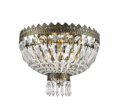 "3-Light Antique Bronze D 12"" H 10"" Frigg Crystal Chandelier Ceiling Light"