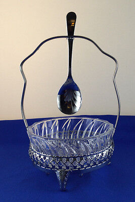 Vintage Chrome And Glass Jam/preserve Bowl/dish With Spoon