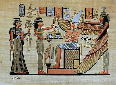 NEW HAND PAINTED EGYPTIAN ART ON PAPYRUS: Nefertiti and Isis before Osiris  A94