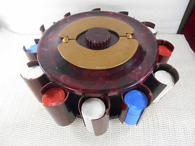 OXBLOOD RED MARBLE TURNIT Poker Chip Carousel Holder Stand Box Pat 2569324 USA