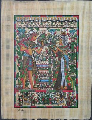 NEW HAND PAINTED EGYPTIAN ART ON PAPYRUS: In the Garden A88