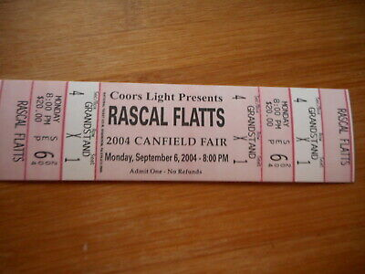 Rascal Flatts 2004 Canfield Fair Unused Concert Ticket